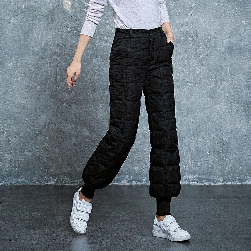 Yuxinfeng Casual Canard Duvet Poches Lanterne Plus Chaud ardoisé Pantalon D'hiver Femmes De Noir Taille La Femelle Épais Haute Travail Formelle tOryqO4w