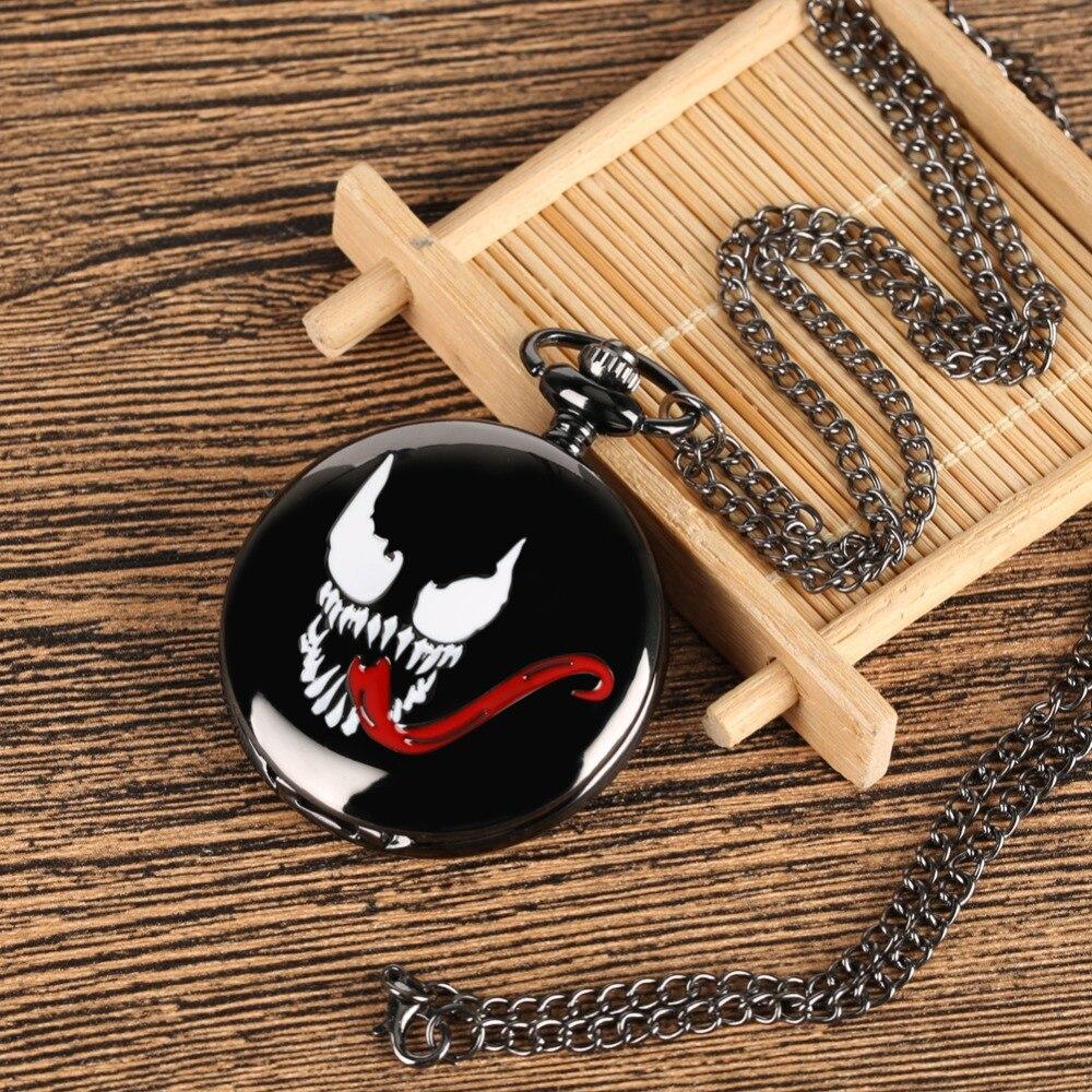 2019 New Arrive Black Venom Pocket Watch Quartz Watches Men Antique Black World Of Warcraft Clock Male Watch Reloj De Bolsillo