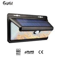 GUGI Новый Солнечный Мощность светодио дный лампа эффект пламени открытый настенный светильник PIR Сенсор 3 режима 158 светодио дный S настенный