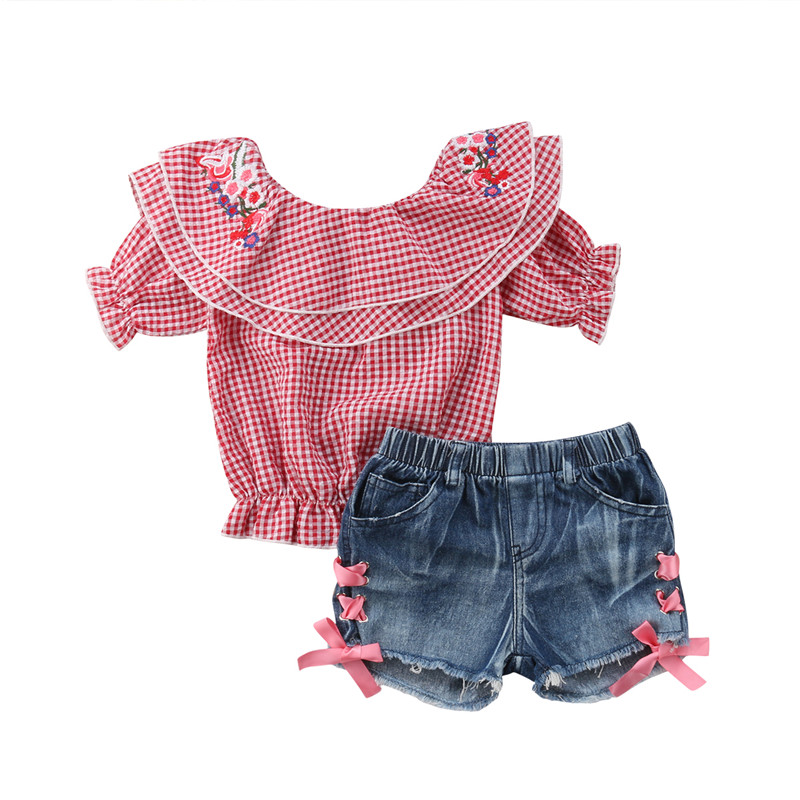 Sweet Toddler Girls Summer Plaids Tops Shirt+Jeans Shorts 2PCS Outfits Set 1-6Y