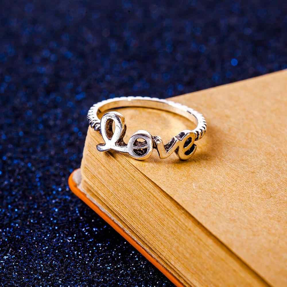 Escavar Estrela Lua de Cristal Anéis Para As Mulheres de Jóias de Prata Anel da Promessa de Casamento Anéis Mulheres Triângulo Anel Carta de Amor Do Vintage