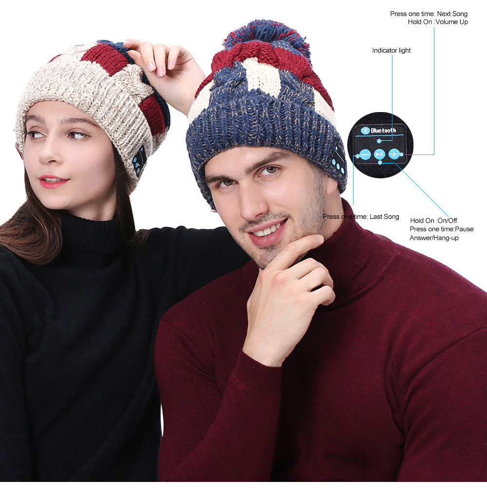 Free Ostrich Bluetooth Music Hat Earphone Speaker Caps with Mic Bluetooth Hats Sport Winter Outdoor Headset Headphones K2840