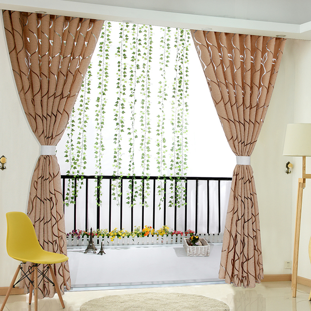 Floral Half Shading Curtain Cirrus Vine Leaf Partition French ...