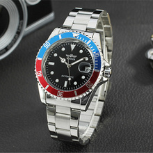 Fashion Casual Mens Watches Top Brand Luxury Winner Full Stainless Steel Auto Day Dial Display Automatic Mechanical Wrist Watch