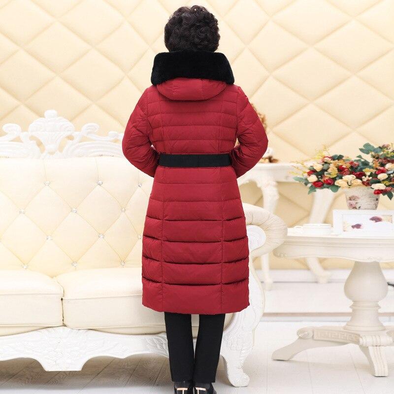 Femmes De red La Milieu Long Le Down Longue 2016new Parka Veste D'hiver Vieux Plus Âgés Bas Black Taille Vers Chinois Manteaux Enduisent 5xS18H