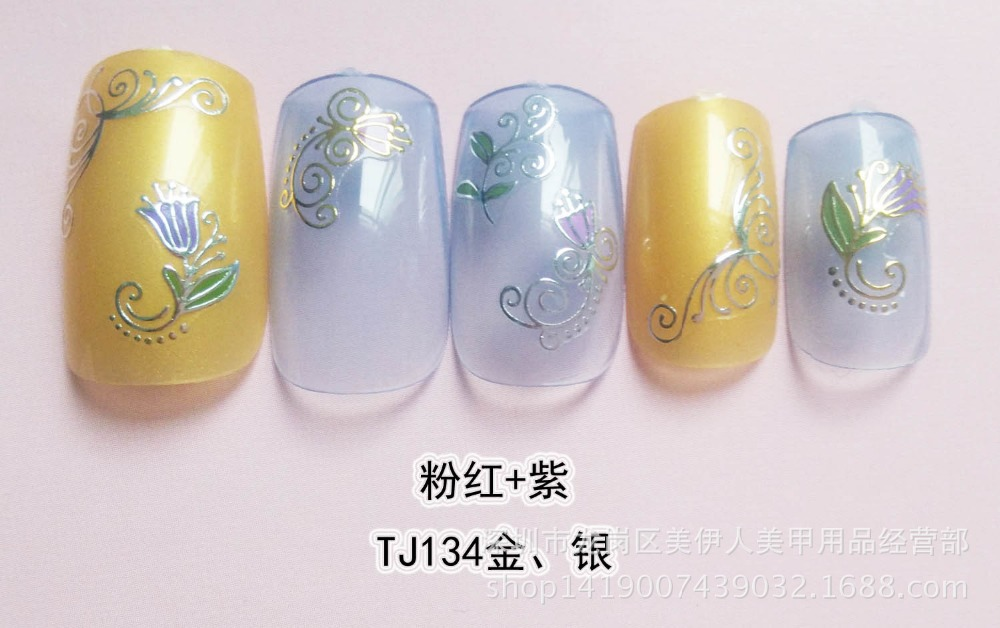 BLUE SKY free shipping TJ133 144 3D nail sticker flower pink/blue ...