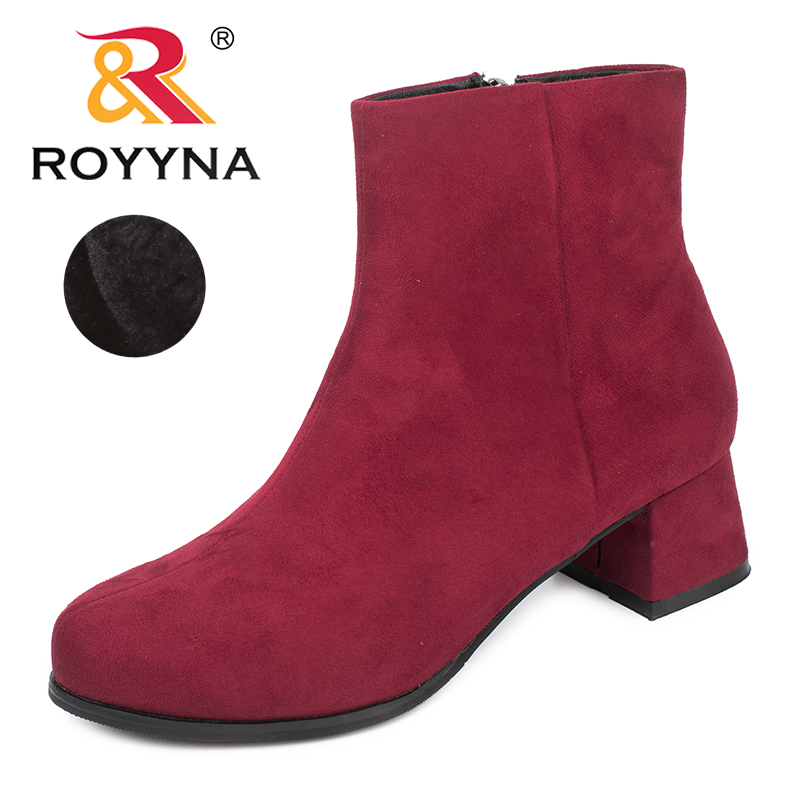 ROYYNA New Arrival Classics Style Women Boots Round Toe Women Ankle Boots Flock Zipper Lady Winter Shoes Light Free Shipping new arrival women shoes comfortable patnet leather round toe slip on for women mid calf boots side zipper lady punk shoes red