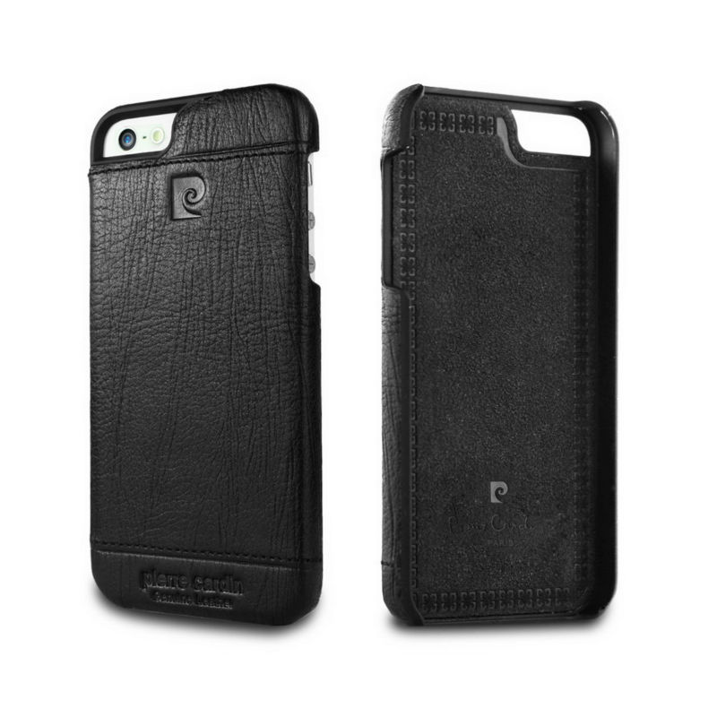 Pierre Cardin Genuine Leather 2015 Fashion Luxury Case Cover for Apple iPhone 5 5S SE Black