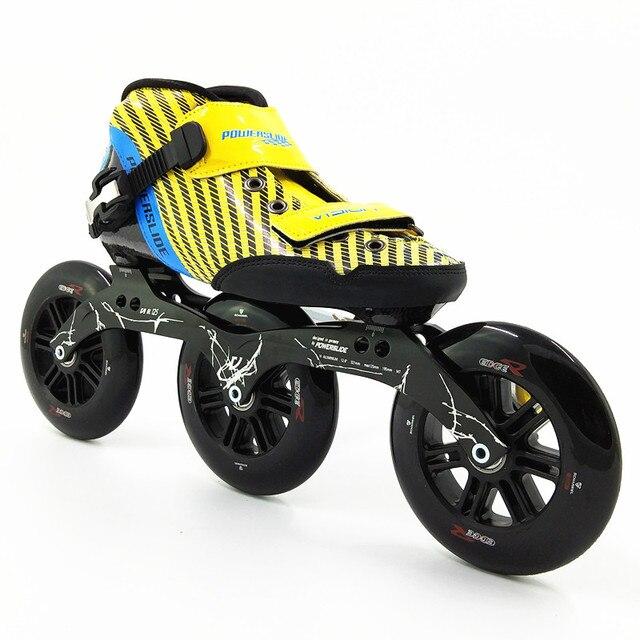 5d411497e105fc Nouveau racing vitesse chaussures de patinage Professionnel patins à  roulettes enfant adulte avec 3 grandes roues
