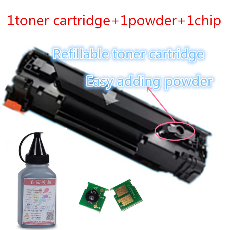 ФОТО For HP 285A CE285A refillable toner cartridge+toner powder+chip for HP  Pro M1212nf M1214nfh laser printer free shipping