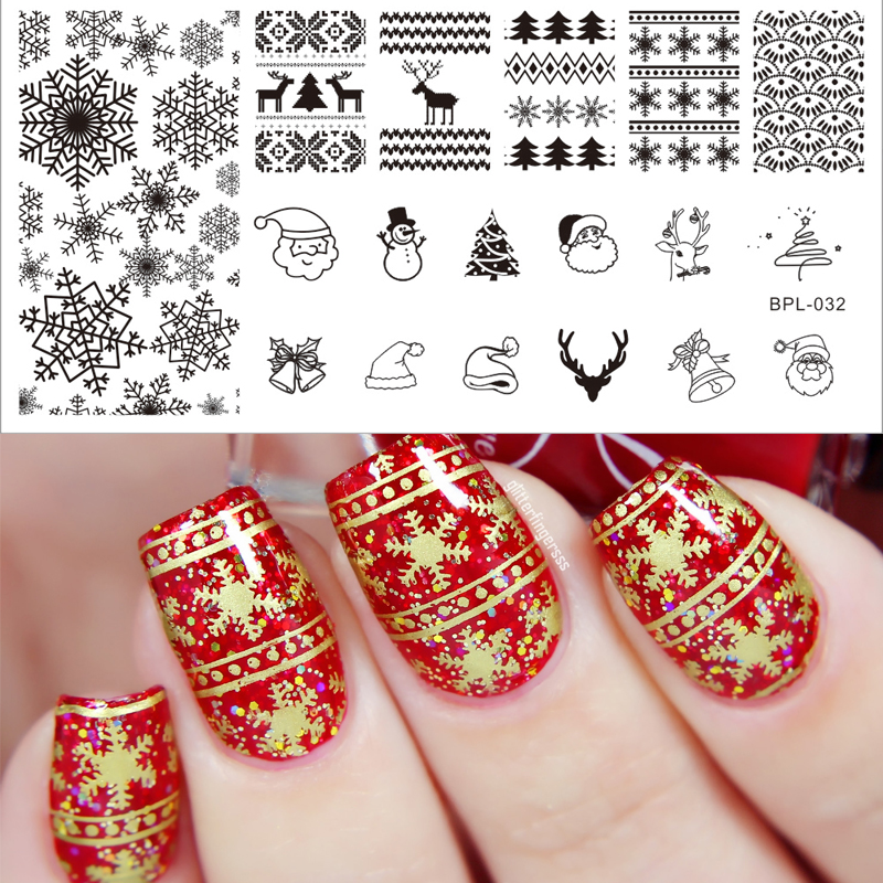 BORN PRETTY Rectangle Round Nail Art Stamp Template Christmas Image ...