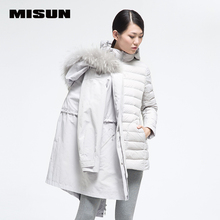 MISUN winter jacket women thickening fur collar slim waist medium-long solid zippers 2 piece suit outerwear down coat & parkas
