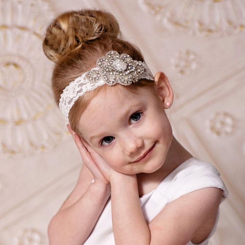 1pc little girl handmade Beautiful Rhinestone & Pearl kids Headband on Lace Band For Christening Special Occasion Photo Prop