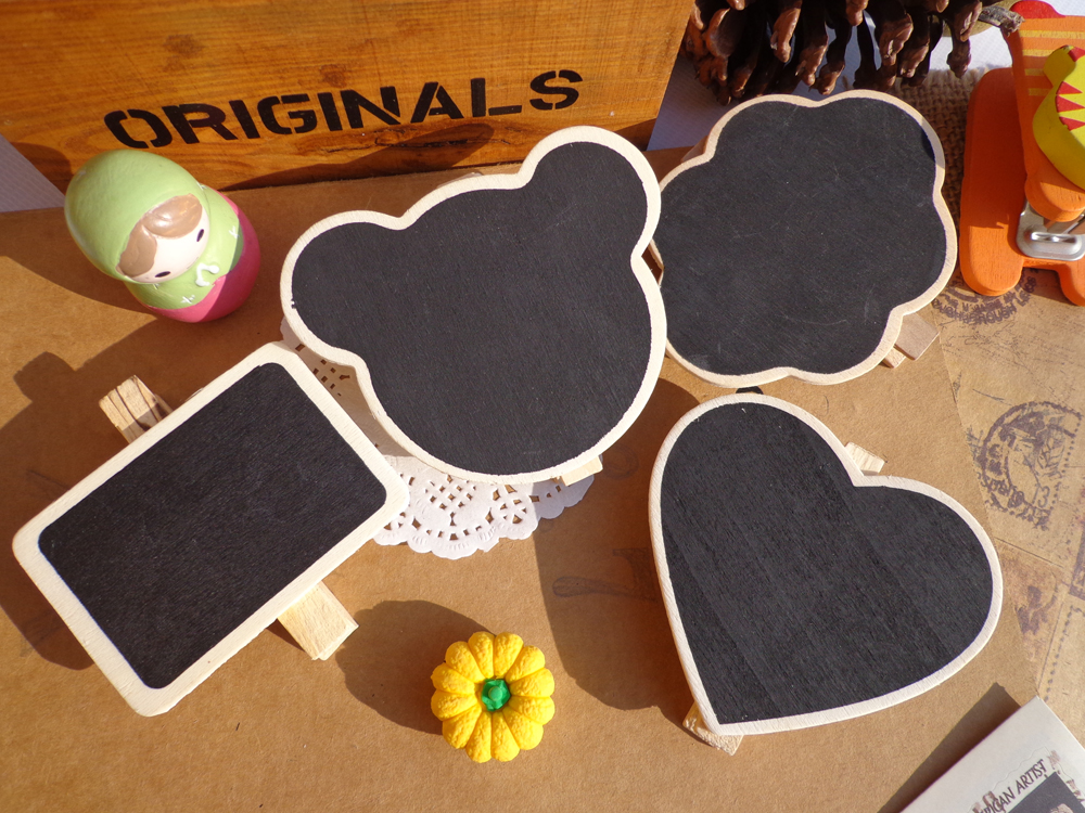 30pcs Bear Cloud Heart Rectangular Wooden Party Blackboard Clip Chalkboard Clip Gift Message Wood Cards Peg Clip for Party Decor