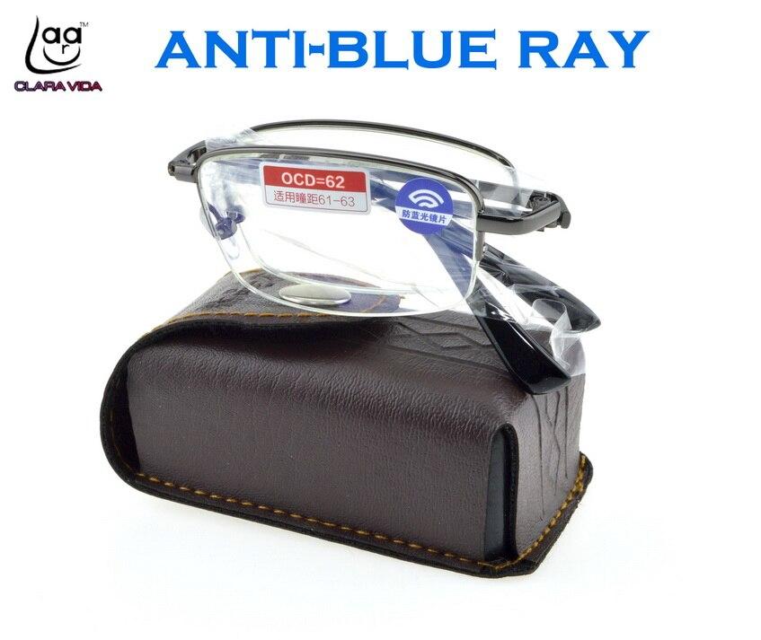 clara vida titanium alloy foldable with belt case anti blue ray men women computer reading glasses +1 +1.5 +2 +2.5 +3 +3.5 +4