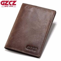 GZCZ Genuine Leather Super Thin Men Wallet Luxury Brand Passport Cover ID Business Card Holder Travel