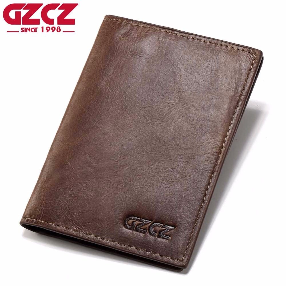 GZCZ Genuine Leather Super Thin Men Wallet Luxury Brand Passport Cover ID Business Card Holder Travel Credit For Male Purse Case