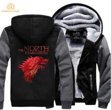Game Of Thrones The North Remembers House Stark Hoodie Men 2019 Hot Sale Winter Warm Fleece Sweatshirts Thicken Jackets 5XL