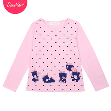 2017 spring Fashion brand domeiland cute Baby Girl Clothes Long Sleeve kids print Rhinestone Bear T-Shirts Basic Cotton clothing