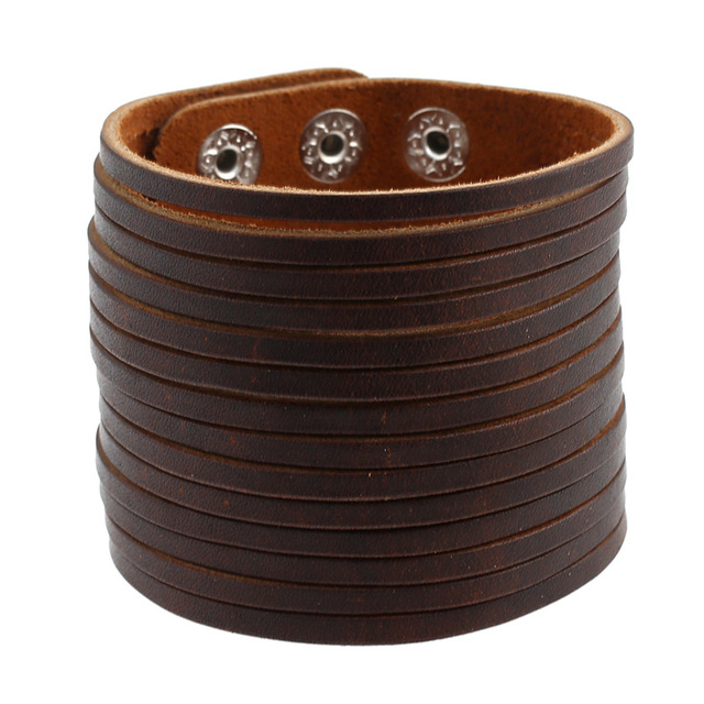 Multilayer Design Punk Cuff Bangle Fashion Vintage Brown Rock Genuine Wide Leather Bracelets Women Men Jewelry Accessories