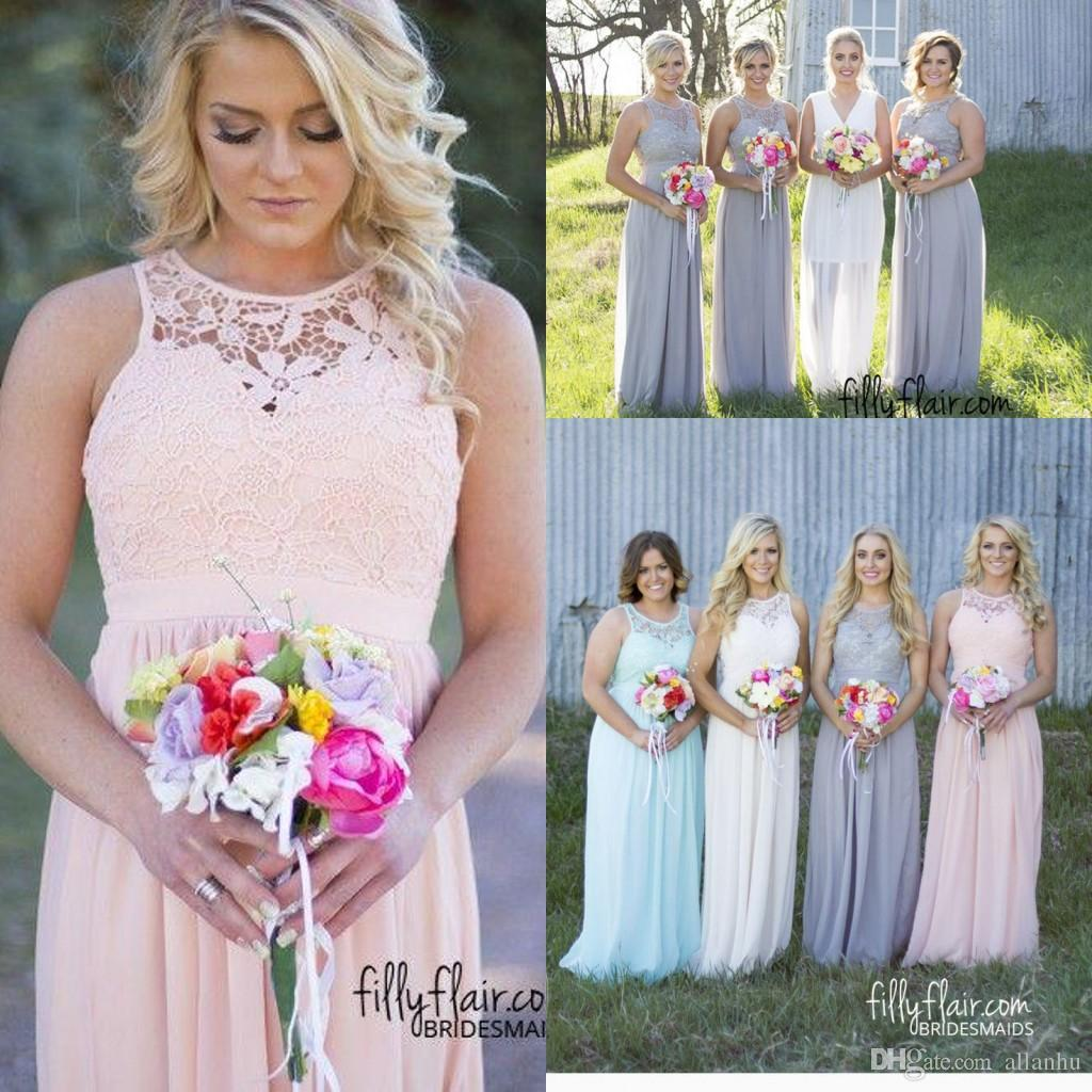 2017 new cheap bridesmaid dresses grey blue pink ivory lace 2017 new cheap bridesmaid dresses grey blue pink ivory lace chiffon long beach bridesmaid dresses wedding party gowns fq32 in bridesmaid dresses from ombrellifo Image collections