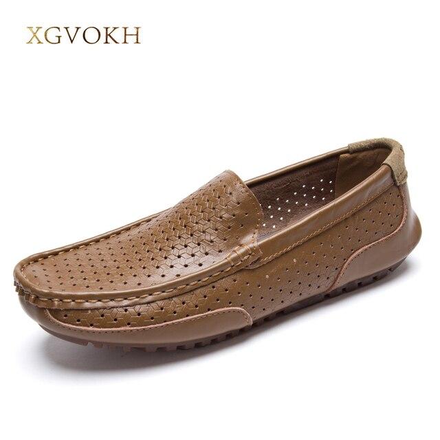 Nouvelle mode en cuir véritable homme Mocassins Flats Chaussures Hommes Casual Chaussures de conduite Respirant,noir,10
