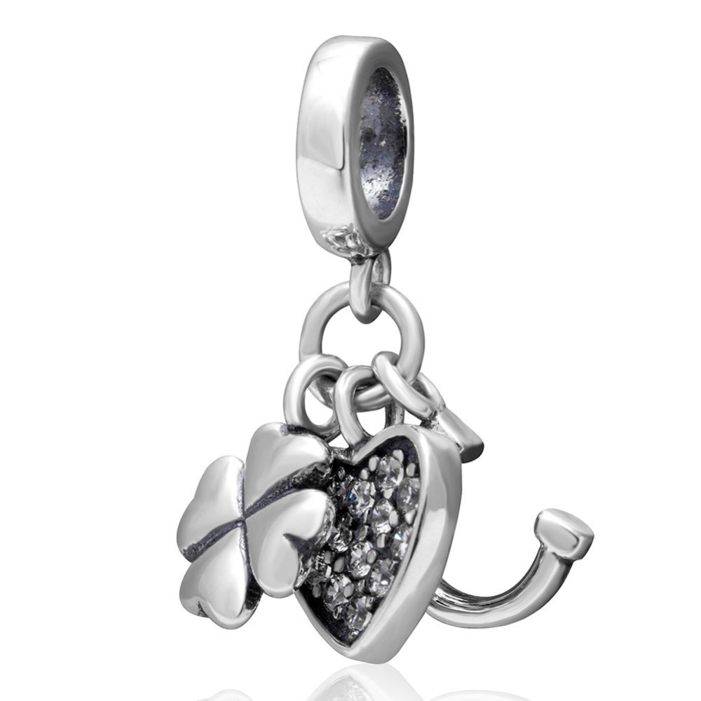 Four Leaf Clovers & Heart & horses hoof Pendant Original 925 sterling silver Jewelry DIY Beads Fit Pandora Charms Bracelets