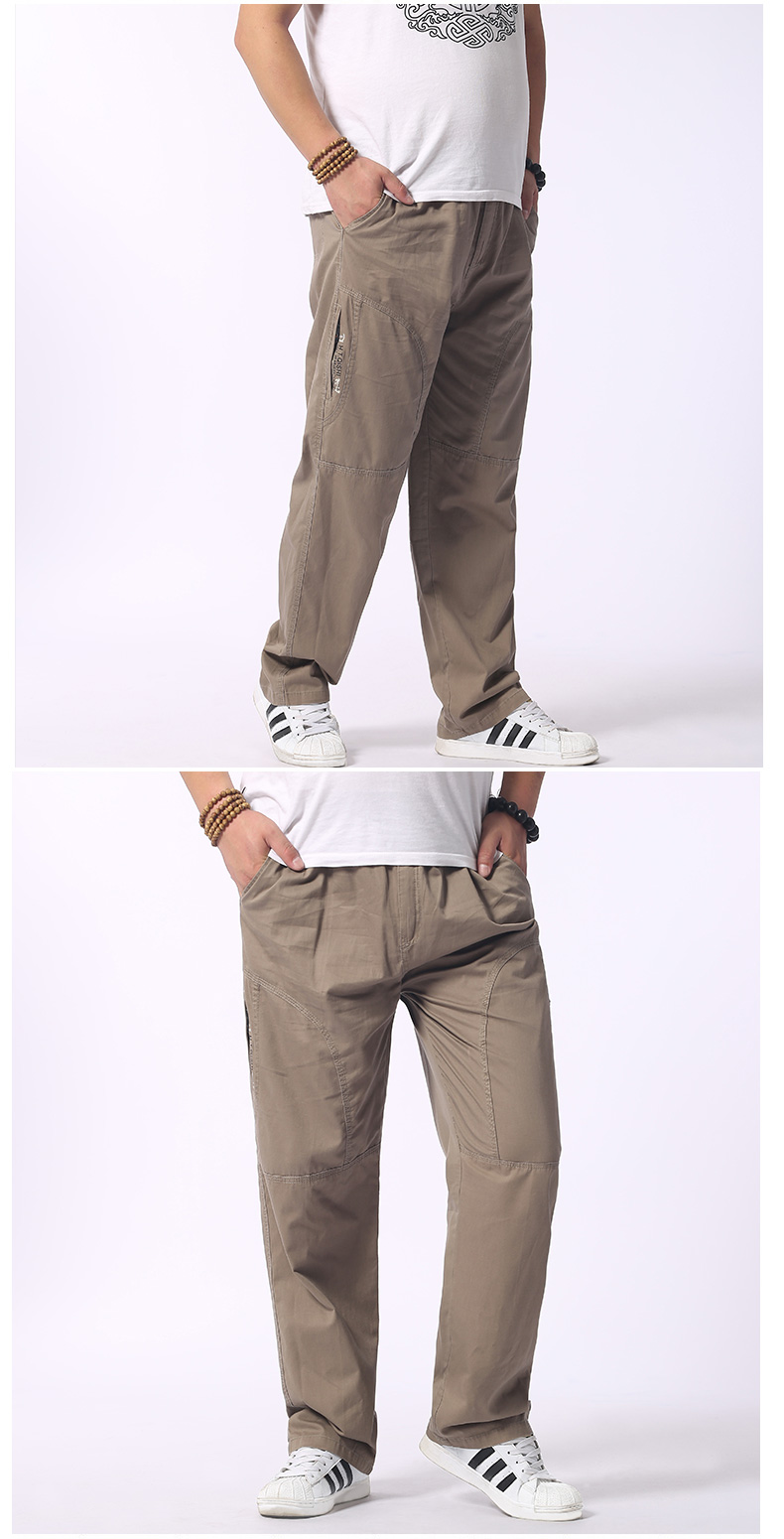Man Loose Fitting Cargo Pants Yellow Black Gray Khaki  Overall For Mens Cotton Comfort Trousers Elastic Waist Pant American Apparel (5)
