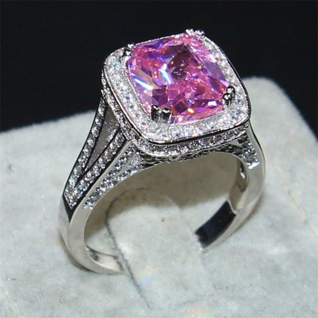 c2ad8a4292da Choucong Jewelry Luxury 14KT White Gold Filled Pave Setting 192PCS CZ 10ct  Pink Square 5A Zircon