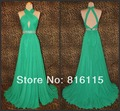 A - linha hanlter andar chiffon traseira aberta mangas ruffle beads lantejoula cocktail prom vestidos backless Custom made