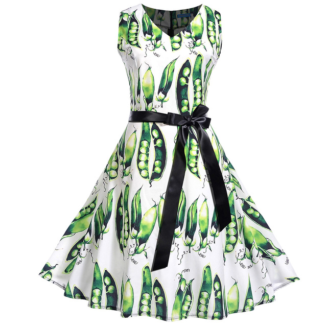 Kenancy Women Pea Pod Print Retro Vintage Dress V Neck Sleeveless Belted Bowknot A-Line Dresses Ball Gown 50s Tunic Summer Dress