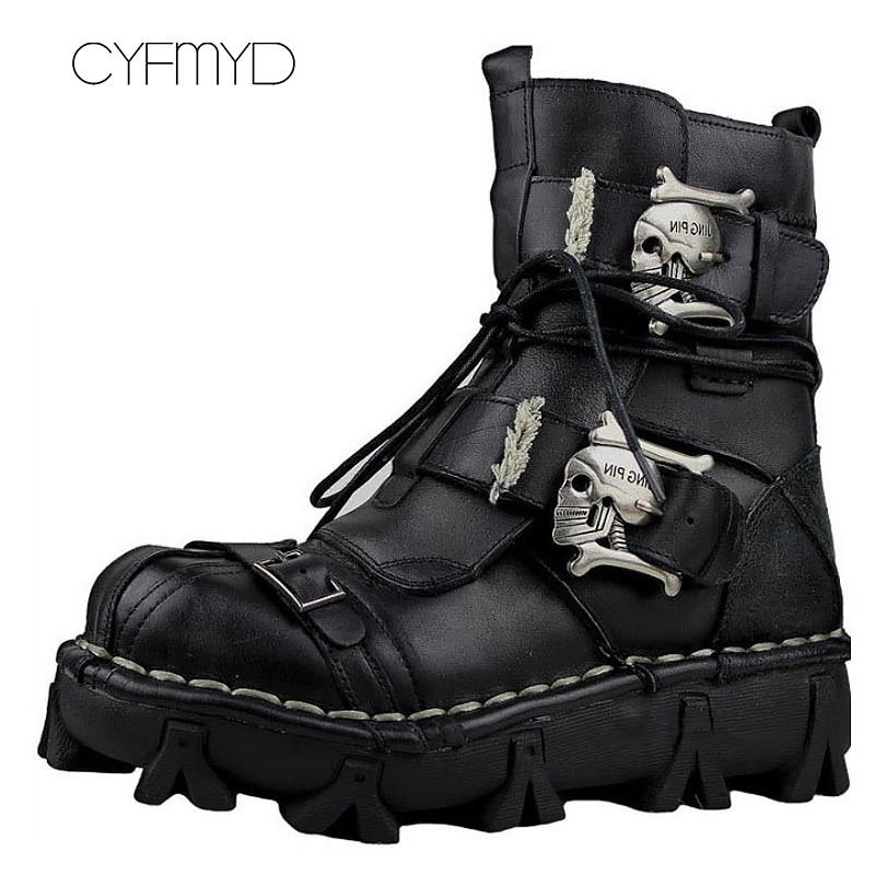 정품 가죽 발목 부츠 남자 큰 크기 5.5 16 하드 착용 작업 안전 겨울 따뜻한 금속 장식 패션 부츠-에서작업 & 안전 부츠부터 신발 의  그룹 1