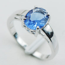 Blue Crystal Zircon 925 Sterling Silver Ring Size 5 6 7 8 9 10 11 12 PR04(China)
