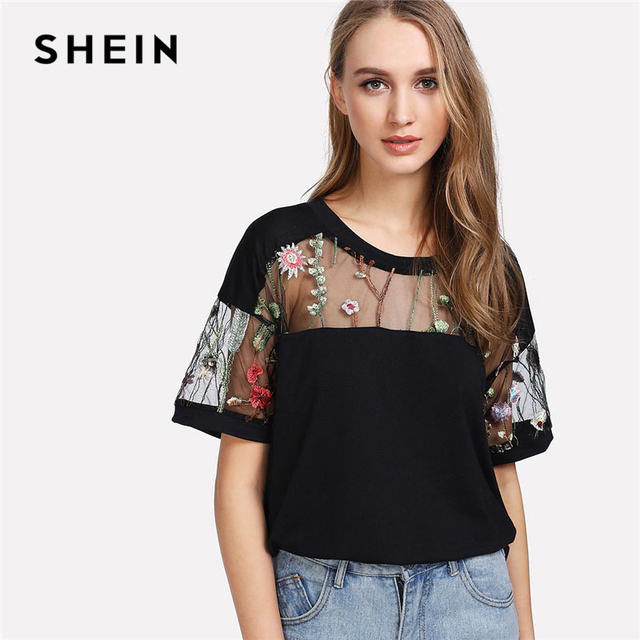 f829546a828 SHEIN Embroidered Mesh Yoke Top Black Short Sleeve Round Neck Casual  T-shirt 2018 Summer