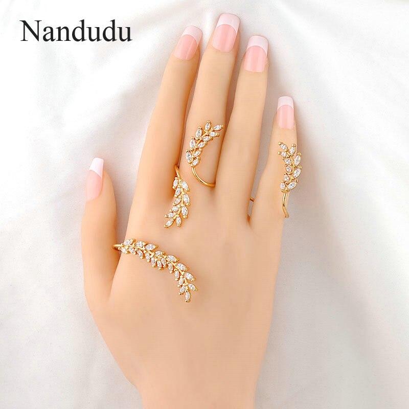 Nandudu Women Palm Cuff AAA Zirconia Hand Bangle Punk Yellow Gold Color Palm Bracelet Jewelry Gift