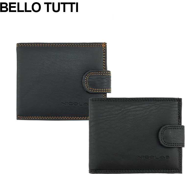 BELLO TUTTI Mens Short Wallet PU Leather Male Casual Purse ID Cards Holder Clutch Coin Purse Money Pocket Bags Black