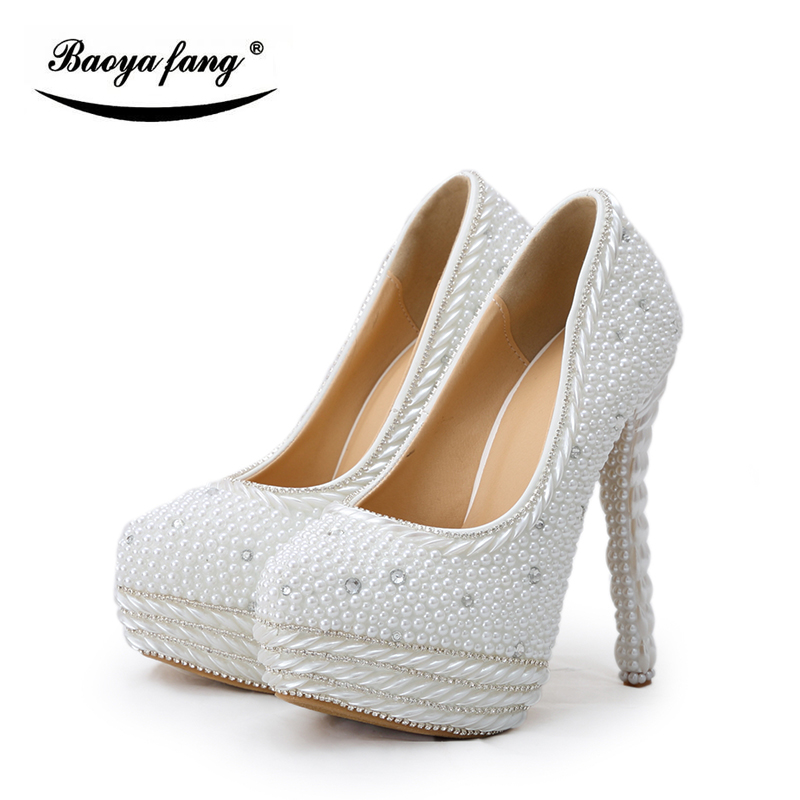 Fashion Platform pearl Women Wedding shoes Bridal beads heel party dress shoes white pearl high heels woman Pumps free shipping