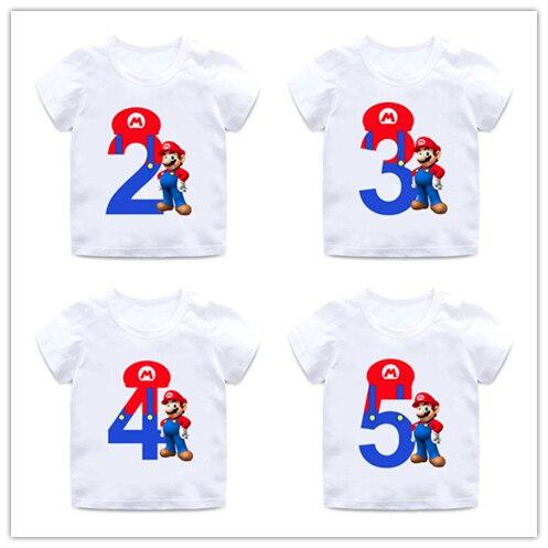 Super Mario Số 1-9 In Chữ Bé Trai/Bé Gái áo Trẻ Em Chúc Mừng Sinh Nhật Tặng Số Lượng Quần Áo Cho Bé hoạt hình, Áo Thun HKP5233