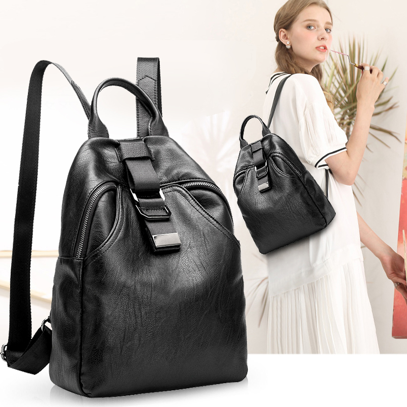 New arrival women backpack genuine leather women bags designer casual real leather laptop backpack solid female trave bag N041