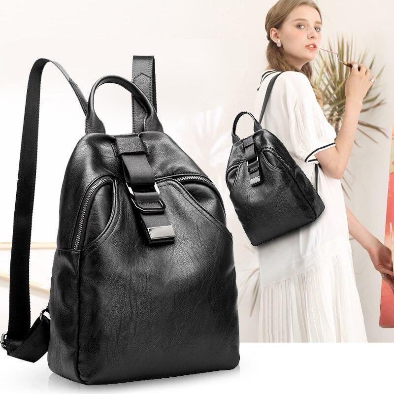 Novedad mochila de mujer de cuero genuino Bolsos De Mujer de diseñador casual de cuero real mochila de ordenador portátil sólido mujer trave bolsa N041