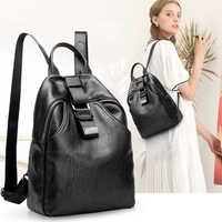 Nueva llegada mochila de mujer de cuero genuino bolsos de diseñador casual de cuero real laptop mochila sólida femenina trave bolsa N041