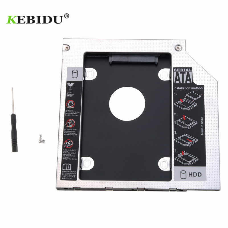 "Kebidu aluminium Metal 2. HDD Caddy 9.5mm SATA 3.0 skrzynka dysku twardego 2.5 ""SATA III 3.0 obudowa ssd HDD do laptopa ODD CD-ROM"