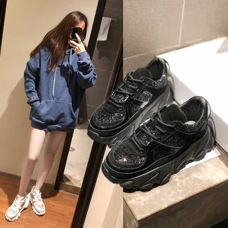ERNESTNM 2019 ใหม่ Bling Chunky รองเท้าผ้าใบผู้หญิง Breathable Sequined รองเท้าผู้หญิงรองเท้าผ้าใบสีดำ Glitter รองเท้าผ้าใบ zapatillas mujer