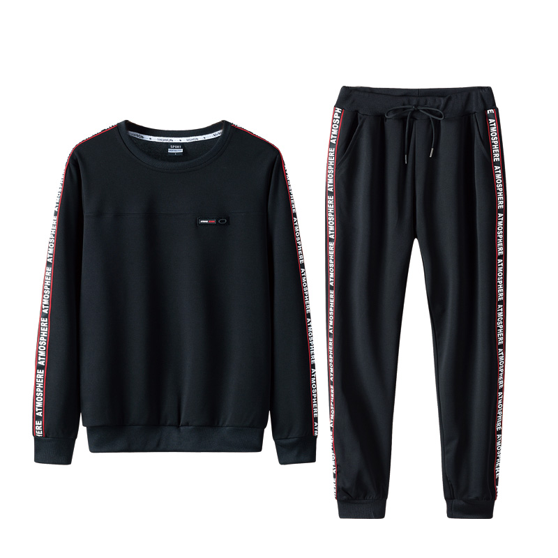 Men's Sportss Street chic Long Sleeves Slim Activewear Set Solid Colored Round Neck