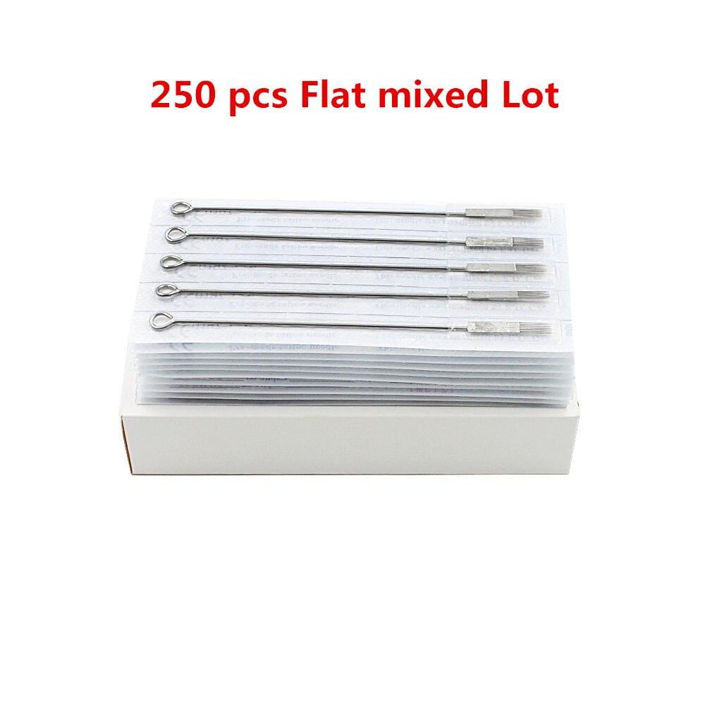 250PCS Tattoo Needles Flat Shader Mixed Lot Sterilize tattoo Needles 5F 7F 9F 11F 13F 15F