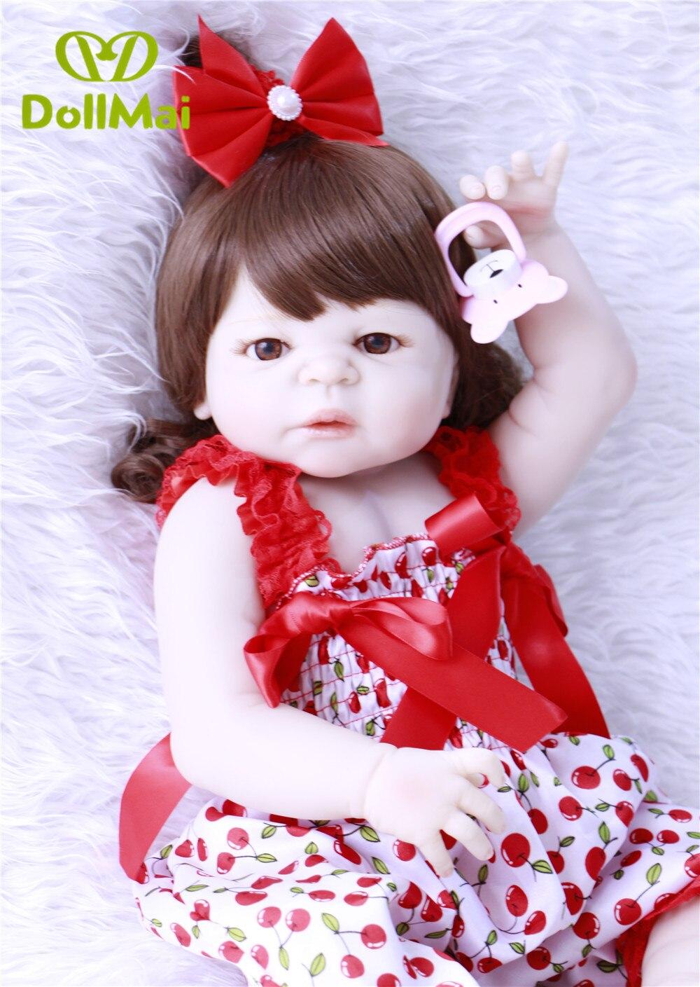 DollMai bebe vivant reborn menina boneca 57cm réaliste Reborn bébé poupée filles corps complet en Silicone avec sucette enfant cadeau-in Poupées from Jeux et loisirs    1