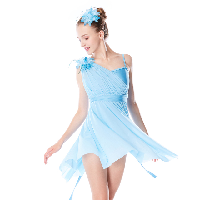 9a403d7347 MiDee Lyrical Dance Dress One Shoulder Costume Girl s Camisole Floral  Diagonal-neck High-low Skirt