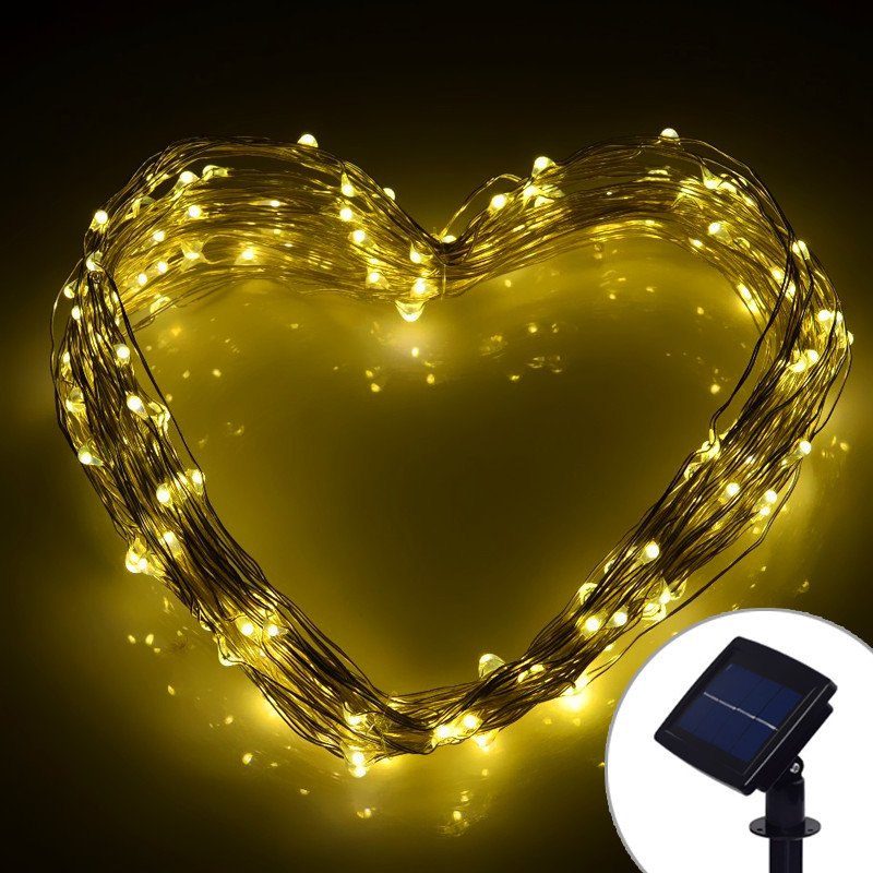 10M 100LED Solar Powered LED Kobber String Lights for Gardens, Homes, - Ferie belysning - Bilde 3