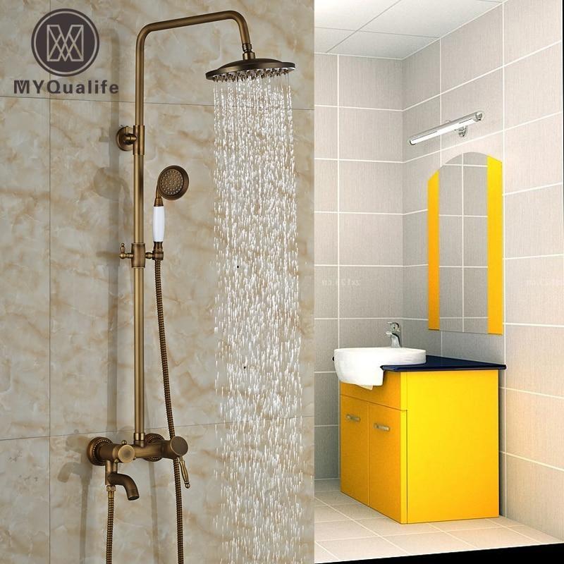 Wall Mount Bathroom Antique Shower Faucet Single Handle Tub Shower Mixer Tap 8 Rain Showerhead bathroom chrome shower faucet set with thermostatic mixer valve wall mount 8 ultrathin rain showerhead handshower