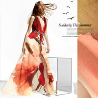 SL002 Pure Silk/Full blown Rose/Digital Print/Silk Fabric Mulberry Silk/30% Silk 70% Linen/Width 1.53yd Thickness 13.5mm